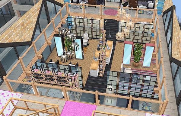 ペントハウス美容室、吹き抜け(The Sims フリープレイ)