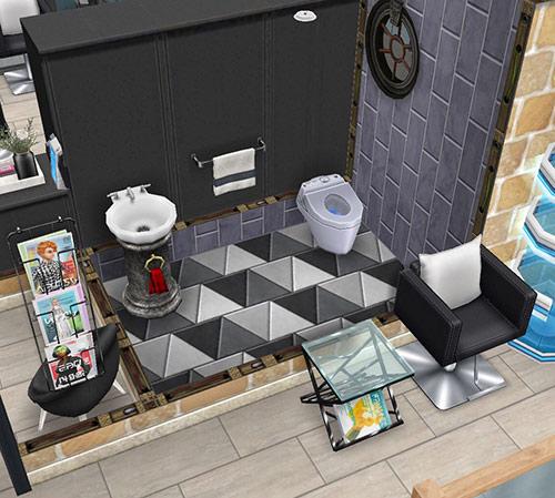 ペントハウス美容室、お手洗い(The Sims フリープレイ)