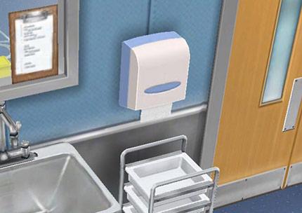 病院、手術準備室にある使い捨てペーパータオル(The Sims フリープレイ)