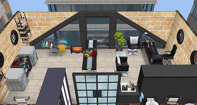 ペントハウス美容室、事務所兼洗濯室(The Sims フリープレイ)