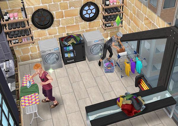 ペントハウス美容室、ランドリーエリア(The Sims フリープレイ)