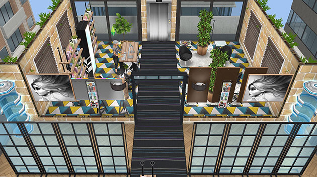 ペントハウス美容室の、受付、待合室、ガラス廊下(The Sims フリープレイ)