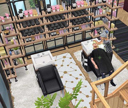 ペントハウス美容室、シャンプーブース(The Sims フリープレイ)