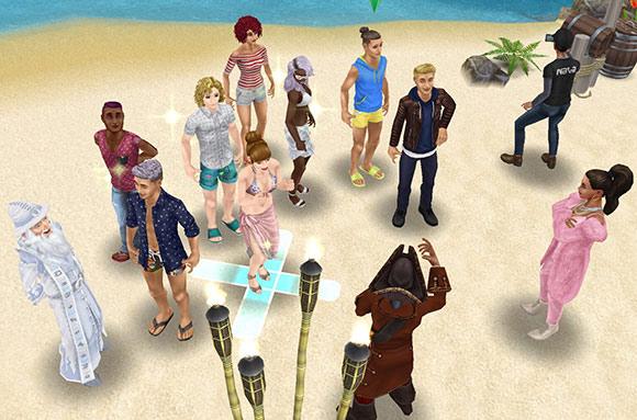 プライベートアイランドで、ラブ&トレジャー番組の集合場所に集まり、説明を受けるシムたち(The Sims フリープレイ)