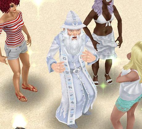 プライベートアイランドで女性シムに囲まれ、うきうきした様子の魔法使いウィッカム(The Sims フリープレイ)