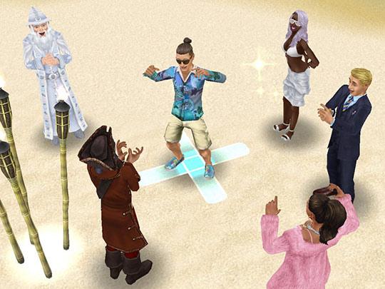 ラブ&トレジャーイベントで、スーツ・ファッション対決をするシム(The Sims フリープレイ)