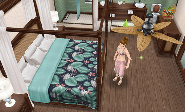 プライベートアイランドの邸宅を見物するシム(The Sims フリープレイ)