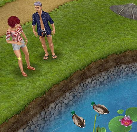 公園でアヒルの餌やりをしながら、おしゃべりする男女シム(The Sims フリープレイ)