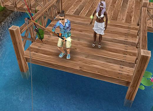 公園で釣りに挑む男性シムと、見物する女性シム(The Sims フリープレイ)