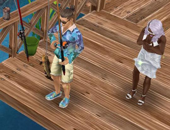 釣った魚を満足そうに見つめる男性シムと、少し不満げな女性シム(The Sims フリープレイ)