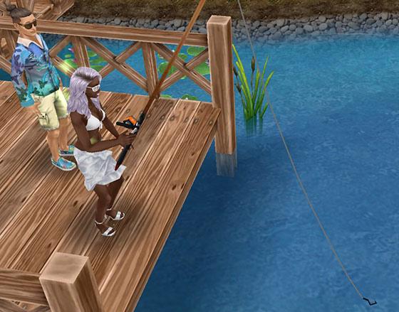 公園で釣りに挑む女性シムと、見守る男性シム(The Sims フリープレイ)