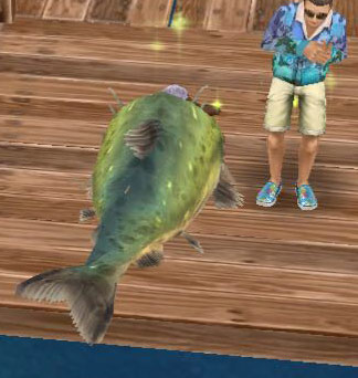 シムを丸呑みする巨大魚(The Sims フリープレイ)