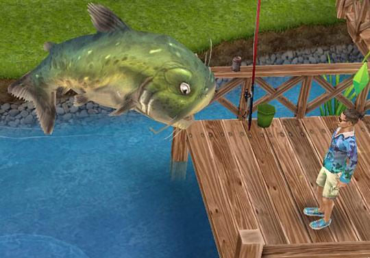 公園で、巨大魚に呆然とするシム(The Sims フリープレイ)