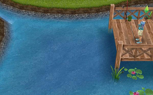 公園で、静まった池を眺めるシム(The Sims フリープレイ)
