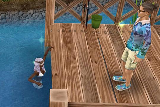 公園の池から桟橋に上がろうとするシム(The Sims フリープレイ)