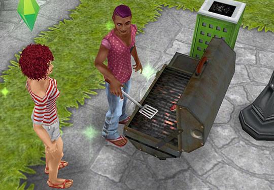 公園でバーベキューを楽しむシムたち(The Sims フリープレイ)