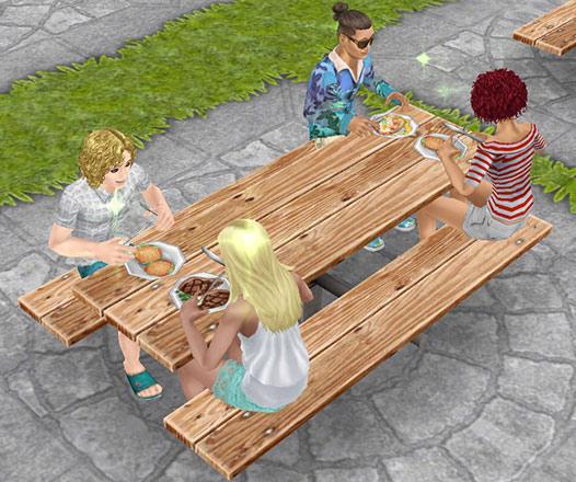 公園のベンチでランチするシムたち(The Sims フリープレイ)