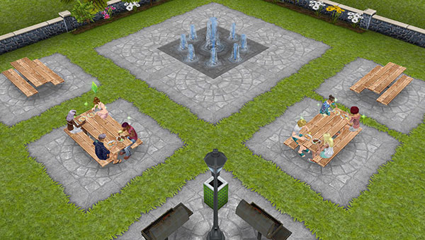 公園の噴水広場でランチするシムたち(The Sims フリープレイ)