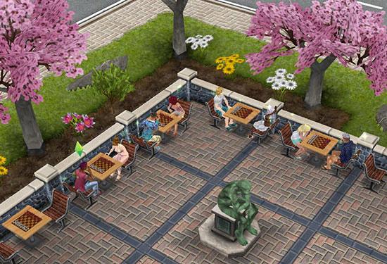 公園で花見をしながらチェスを楽しむシムたち(The Sims フリープレイ)
