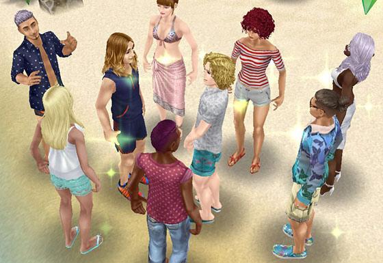 プライベートアイランドのビーチに集合したシムたち(The Sims フリープレイ)