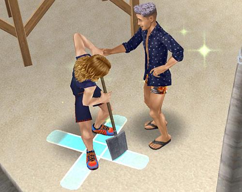 ハートを掘り起こそうをスコップを地面に刺すシムと、それを止めようとするシム(The Sims フリープレイ)