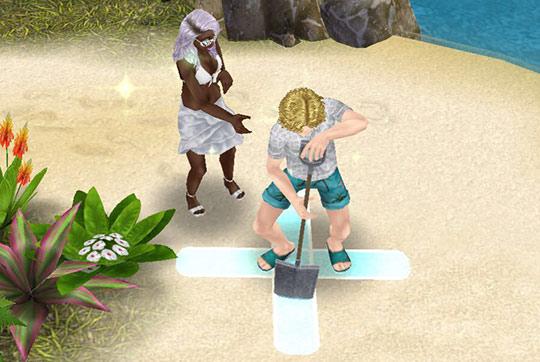 疲れてスコップにもたれる男性シムと、手を差し伸べる女性シム(The Sims フリープレイ)