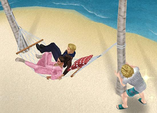 プリムと超人気俳優ブライアンのデートを尾行する男性シム(The Sims フリープレイ)