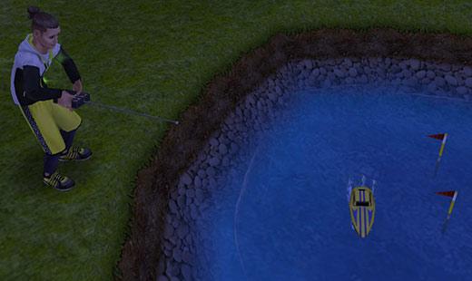 夜の暗闇の中、公園の池でラジコンボートを操作するシム(The Sims フリープレイ)