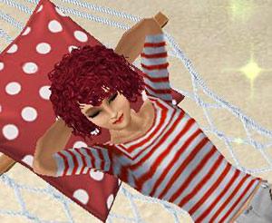 ハンモックに寝転ぶ女性シム(The Sims フリープレイ)
