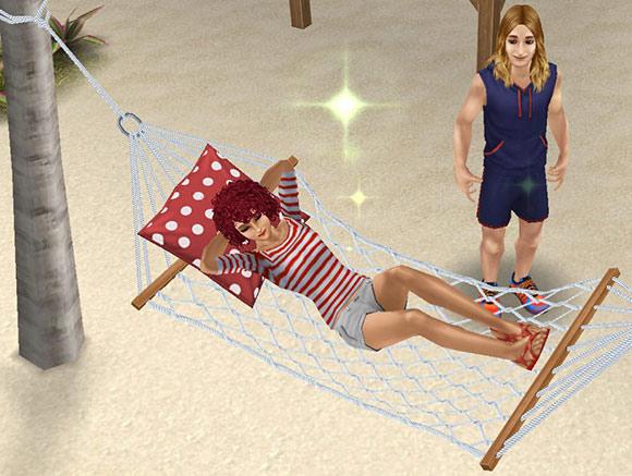 プライベートアイランドのハンモックに寝る女性シムを見つめる男性シム(The Sims フリープレイ)