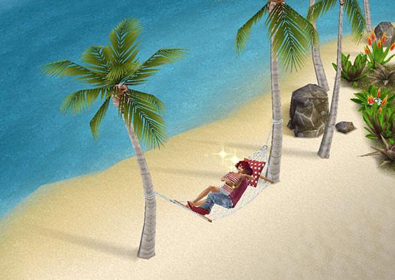 プライベートアイランドのハンモックで一緒にくつろぐ男女シム(The Sims フリープレイ)