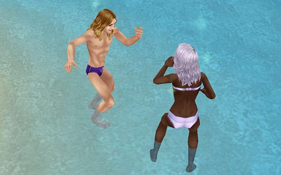 プライベートアイランドのビーチで水遊びする男女シム(The Sims フリープレイ)