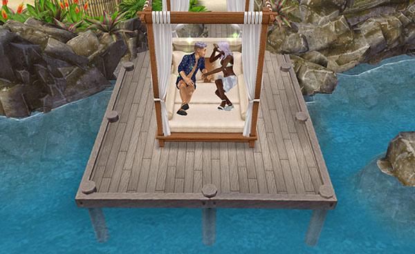 プライベートアイランドの屋外ベッドでおしゃべりする男女シム(The Sims フリープレイ)