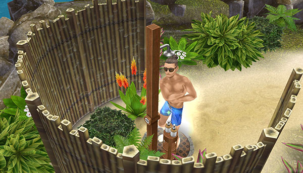 プライベートアイランドの屋外シャワーでわしわし体を磨くシム(The Sims フリープレイ)