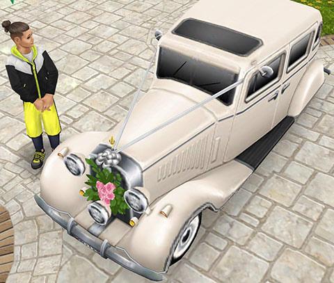 ウエディングリムジンを眺めるシム(The Sims フリープレイ)