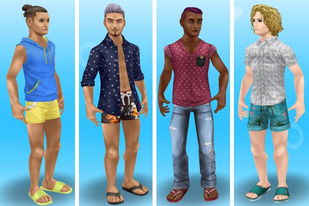 ビーチ・ファッションに着替えた男性シムたち(The Sims フリープレイ)