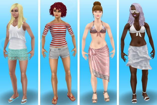 ビーチ・ファッションに着替えた女性シムたち(The Sims フリープレイ)
