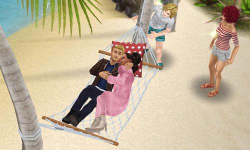 プリムと超人気俳優ブライアンのデートを尾行する男性シムを見て固まる女性シム(The Sims フリープレイ)
