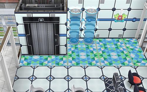 アイスホッケースタジアム1階、スタンド席横にあるエレベーターとテレポーター(The Sims フリープレイ)