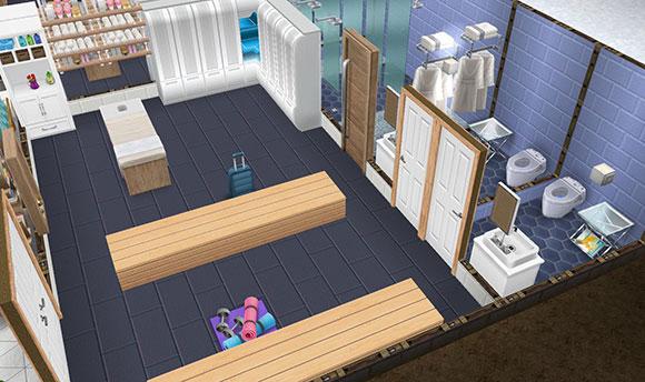 アイスホッケースタジアムの選手控え室(The Sims フリープレイ)