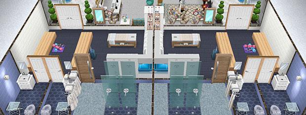 左右対称に並ぶ、選手控え室(The Sims フリープレイ)