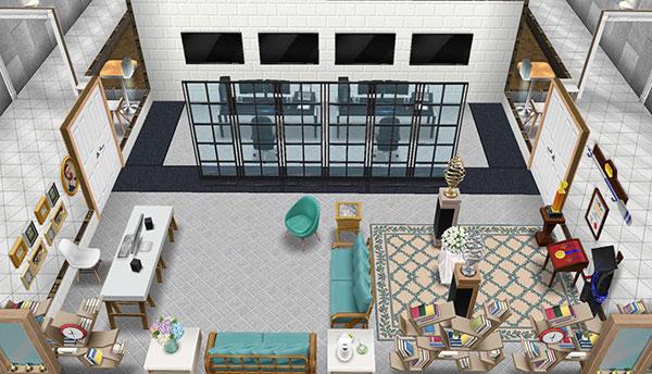 アイスホッケースタジアムの事務所兼警備室(The Sims フリープレイ)