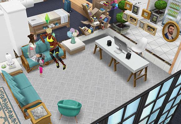 モダンなパソコン、島の邸宅ソファ、角度付きチェアなどを配置した事務所(The Sims フリープレイ)