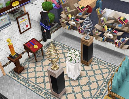 らせん型彫刻、フラワーテーブル、ハイスクールアワードのディスプレイなどを飾った展示エリア(The Sims フリープレイ)