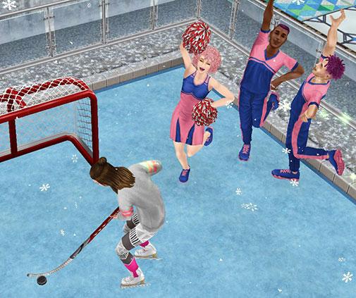 ホッケーネットでショットに励むシムを応援しながら、アイスリンクに乱入するシムたち(The Sims フリープレイ)