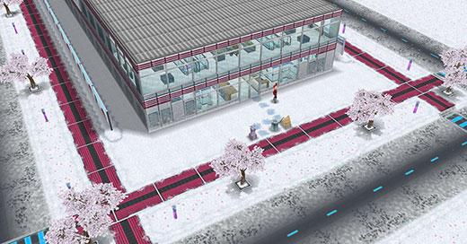 アイスホッケースタジアム、正面外観(The Sims フリープレイ)