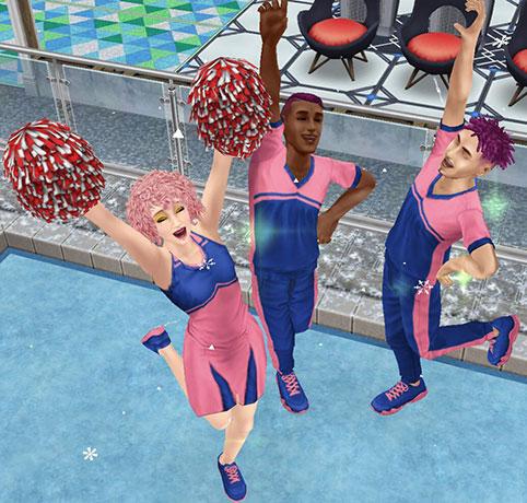 アイスリンクで応援テンションが上がりノリノリのシムたち(The Sims フリープレイ)