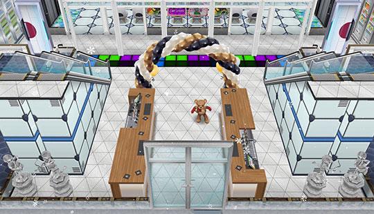 アイスホッケースタジアム、入場口。お出迎えする大会マスコットのテディベア(The Sims フリープレイ)
