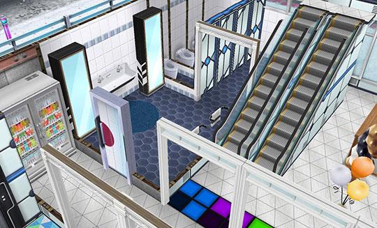 アイスホッケースタジアム、入場口近く。エスカレーター、自動販売機(のつもりの冷蔵庫)のある通路、公衆トイレ(The Sims フリープレイ)