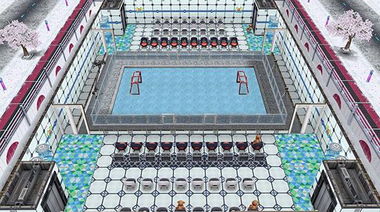 観客席とカメラに囲まれたアイスホッケーリンク(The Sims フリープレイ)